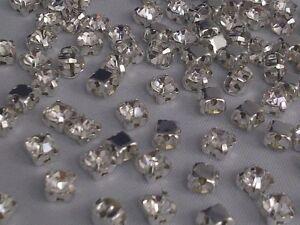 CraftbuddyUS 100pc 4.3mm Sew On Clear Silver Set Glass Diamnte Rhinestones Dress