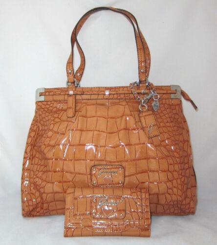 GUESS RETRO Croc Sac a Main Shopping Bag Tote Coeur Breloque Portefeuille Vernis
