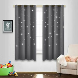Details About Gray Stars Kids Room Curtains Nicetown Naptime Essential Nursery Window