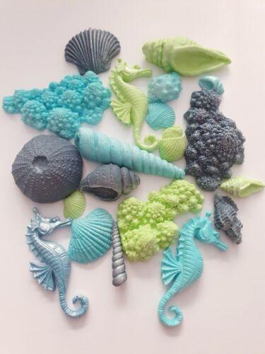20 Edible Sugar Mermaid Seashells Coral Seahorses Cake Decorations Topper