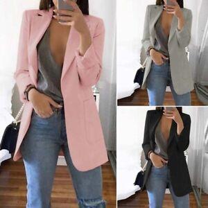 Mode-Femme-Blazer-Couleru-Unie-Manche-Longue-Poches-Manteau-Veste-Simple-Plus