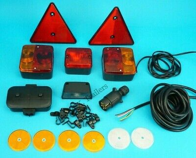 Trailer Lamp Set with Reflectors 7 Core Cable /& Clips Junction Box /& 7 Pin Plug