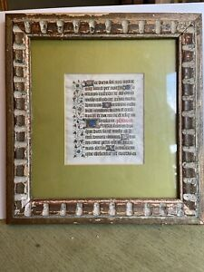 15th-C-Page-Medieval-Illuminated-Manuscript-1450-Book-Of-Hours-2-Sided-Framed