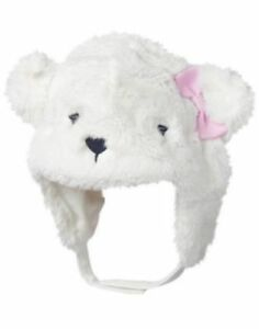 cb37080d1da74 Details about GYMBOREE CUBS   HUGS WHITE CUTE POLAR BEAR FUR TRAPPER HAT 0  6 12 24 NWT