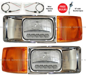 Headlight-Reflector-LED-Bezel-Chrome-amp-Corner-Lamp-LH-RH-Fit-International-Truck