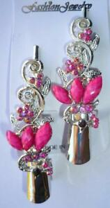 New 2 Dark Pink Butterfly Hair Clip Rhinestones Crystals