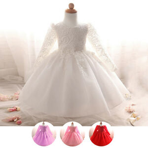 Image Is Loading Lace Long Sleeve Christening Gown Toddler Baby Girls