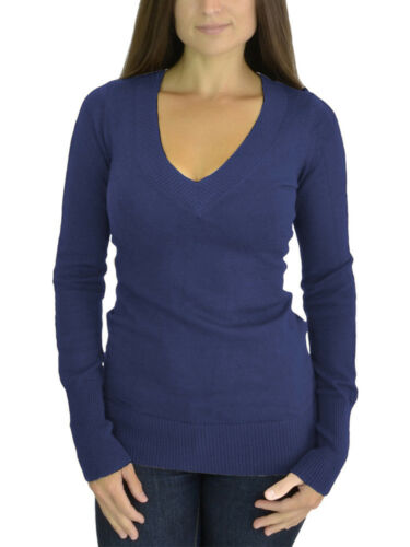 Belle Donne Women/'s Striped or Solid Color Long Sleeve V-Neck Sweater Pullover