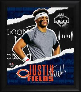 """Justin Fields Chicago Bears Framed 15"""" x 17"""" 2021 Draft Day Collage - Facsimile"""
