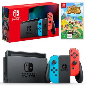 Nintendo Switch Neon Joy-Con Console with Animal Crossing New Horizons Bundle NE