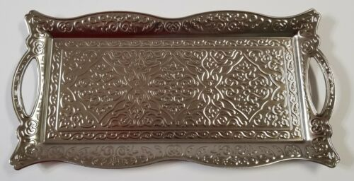 """New Import Metal Engraving Turkish Serving Tray Silver Color 13/"""" x 6/"""""""