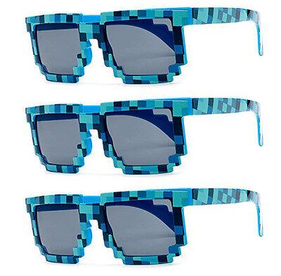 3 PAIRS BLUE wholesale 8-Bit Pixel Gamer Geek Costume Sunglasses glasses