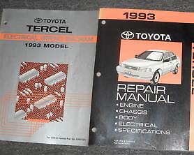 1993 toyota tercel service shop repair workshop manual set w wiring rh ebay com BMW 2002 Wiring Diagram Pioneer Deh 12 Wiring-Diagram