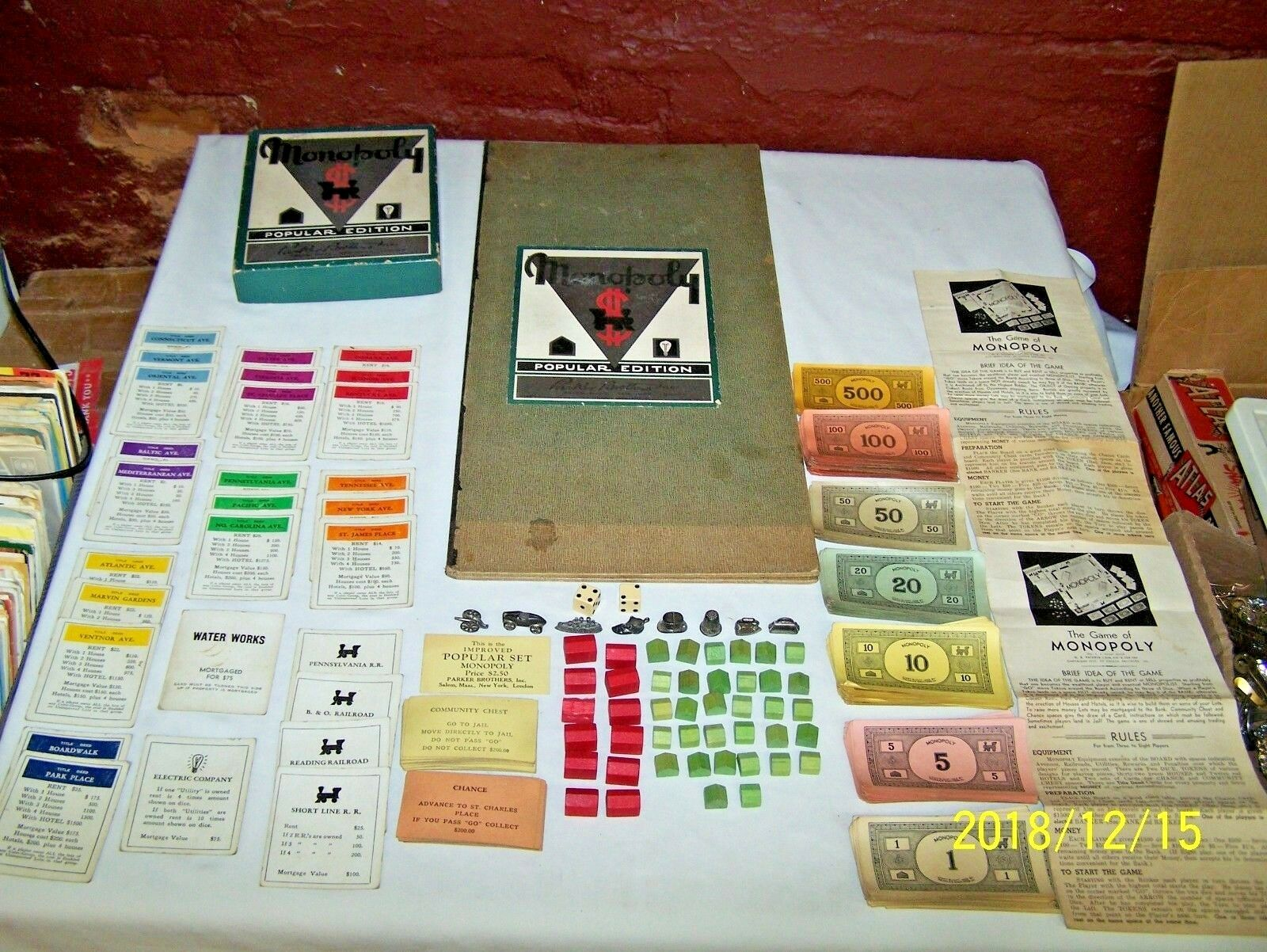 1935 - 1936  NUMBER 8 MONOPOLY GAME - POPULAR EDITION - DUAL PATENT - NO RESERVE