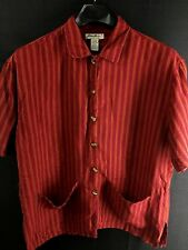 WOMENS EDDIE BAUER RED ORANGE STRIPED SHORT-SLEEVE CASUAL LINEN SHIRT LARGE