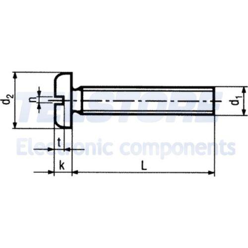 100pcs  Vite M2,5x8 Testa cilindrica Incisione a taglio acciaio TELSTORE
