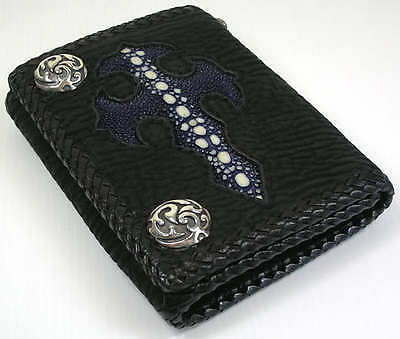 BLUE GOTHIC CROSS GENUINE STINGRAY LEATHER BIKER WALLET