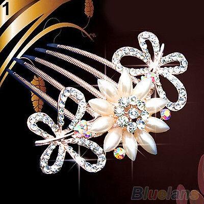 Wedding Bridal Crystal Rhinestone Pearls Hairpin Flower Diamante Hair Clip Comb