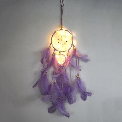 Handmade Dream Catcher LED Night Light Hanging Feather Dreamcatcher Home Decor