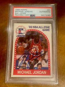 1989 Hoops All Star #21 Michael Jordan Signed Auto PSA DNA Authentic BOLD SHARP!