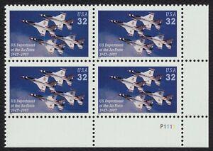 #3167 32c ESTADOS UNIDOS Air Force, Placa Bloque [P1111 LR ] Nuevo Cualquier 4=