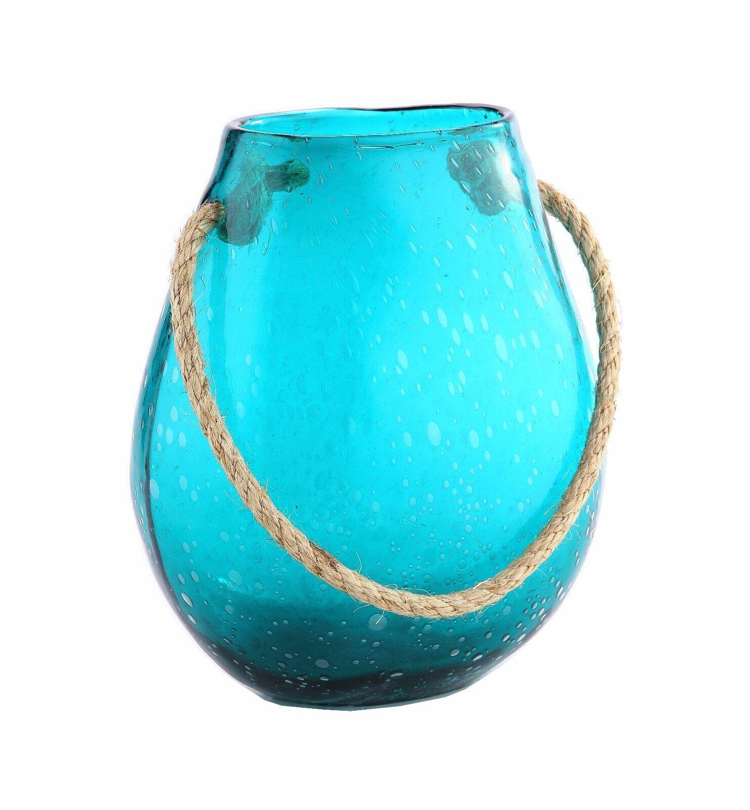 Nuevo 11  mano florero de vidrio soplado arte tq azulverde con Mango Decorativo