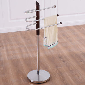 3 Tier Free Standing Floor Towel Holder Hanger