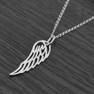 "100% QualitäT Genuine 925 Sterling Silver Wing Feather Necklace 18"" Inches 45cm Ruf Zuerst"