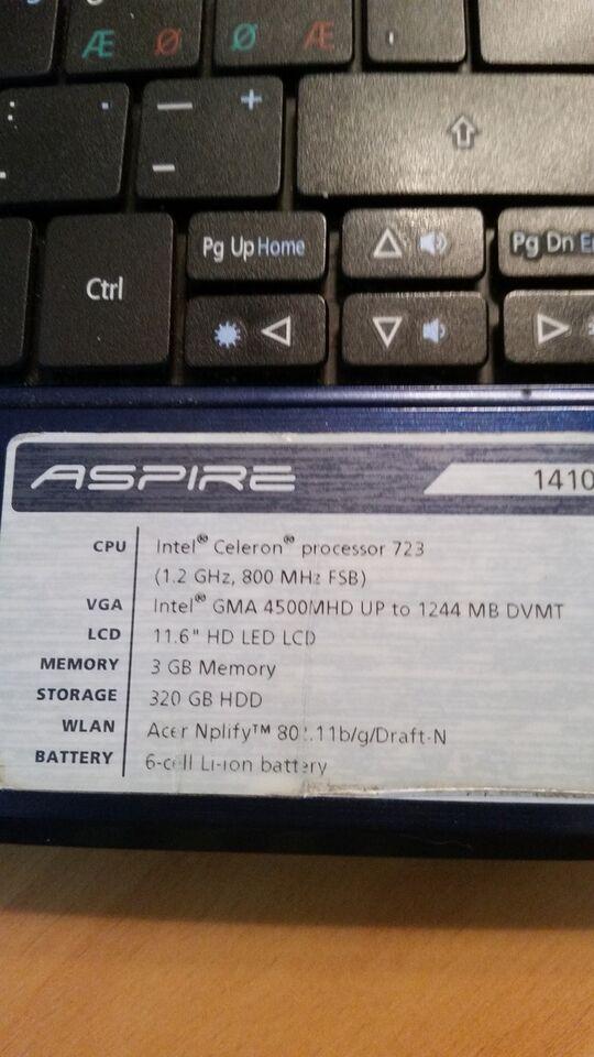 Andet mærke Aspire 1410, 1,4 GHz, 0 GB ram