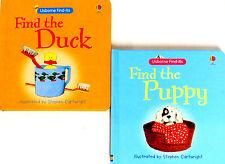 Usborne Find Its Series : Find the Duck & Find the Puppy (bb) 2 Book Set NEW