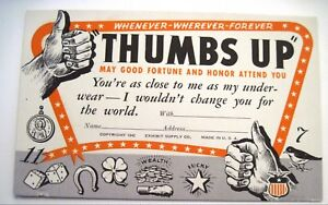 1942-034-Thumbs-Up-034-Postcard-w-Good-Luck-Charms-Pictured-Unused