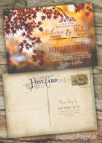 PERSONALISED PHOTOGRAPHIC AUTUMN RUSTIC POSTCARD WEDDING INVITATIONS PACKS OF 10