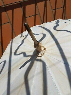Raro Antico Ombrello : Epoca 1930 -1940 - Bianco E Con Ricami E Manico Speciale