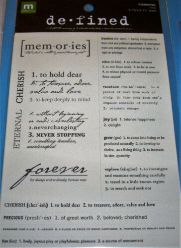 NEW 9 pc MEMORIES DEFINED Words /& Definintions MAKING MEMORIES Stickers