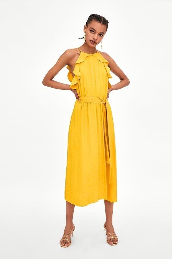 Zara TRF Women's Long Jacquard Yellow Mustard Dress BNWT Size XS