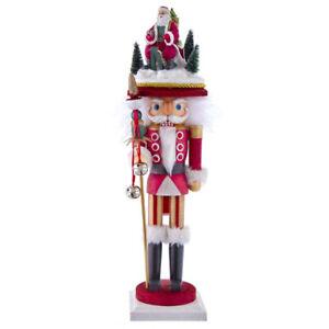 "Kurt Adler Hollywood Nutcracker - Santa Sled Hat Christmas Nutcracker 18"" HA0403"
