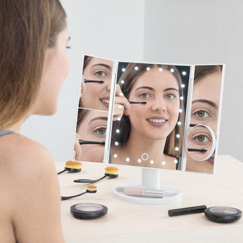 4 in 1 Kosmetikspiegel mit Vergrößerung und LED Schminkspiegel Standspiegel