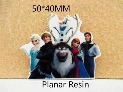 5 X 50MM Anna Olaf Elsa Congelada láser de corte de resina arcos del pelo diademas de reverso plano