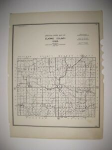 ANTIQUE 1938 CLARKE COUNTY IOWA ROAD HIGHWAY MAP SURFACED UNSURFACED