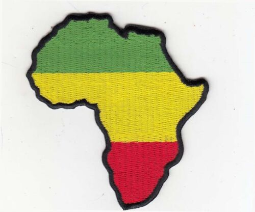 """GYR Embroidered Patches 3.25/""""x3/"""" Rasta Africa Map"""