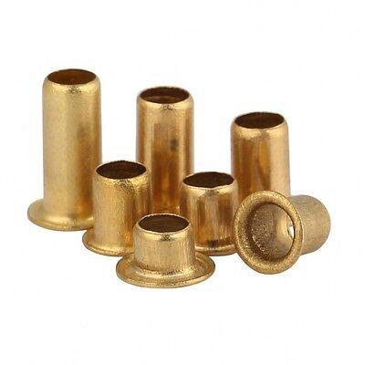 200pcs M2.3 x 8mm Brass Plated Metal Hollow Eyelets Rivets Gold Tone