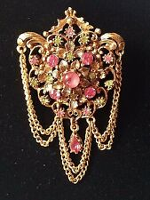 Florenza Brooch Pin Gold Victorian Revival Vintage Rhinestone Green Pink Glass