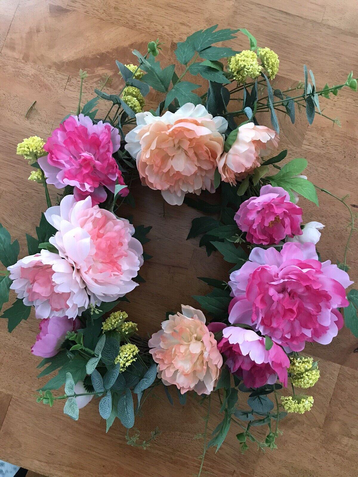 35cm Artificial Rose Flower Wreath Door Hanging Peony Garland WeddingHome Decor