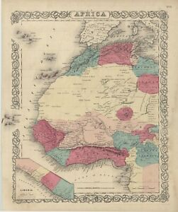 "1861 Colton's  ""AFRICA. Northwestern Sheet""original steel-plate engraving"