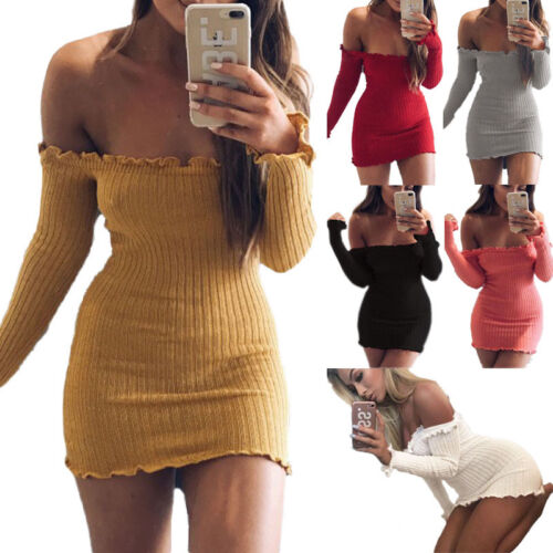 UK Women Off the Shoulder Bodycon Party Evening Ladies Short Ribbed Jumper Dress