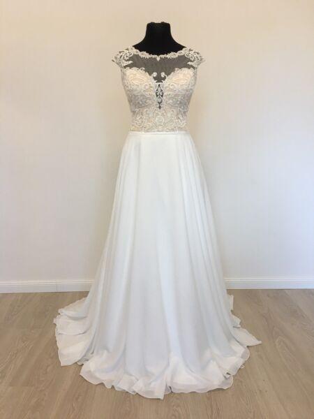 A-linea Vintage Style Boho Abito Da Sposa Vestito Da Sposa Tg 42-44 Bianco/beige