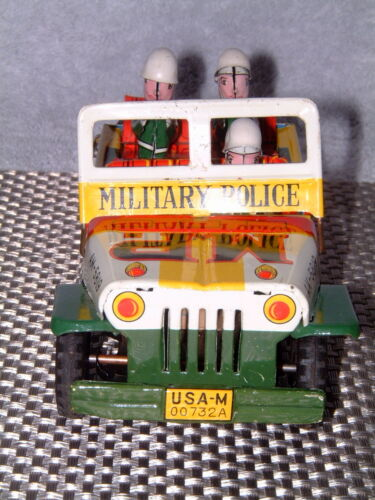 RARE Alle Artikel in Elektrisches Spielzeug VINTAGE MITSUHASHI MILITARY POLICE TIN FRICTION DRIVEN JEEP W/BOX!
