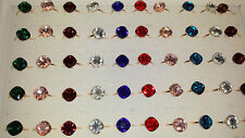Joblot of 50pcs Mixed colour Glass Crystal Fashion Rings - NEW Wholesale lot 3