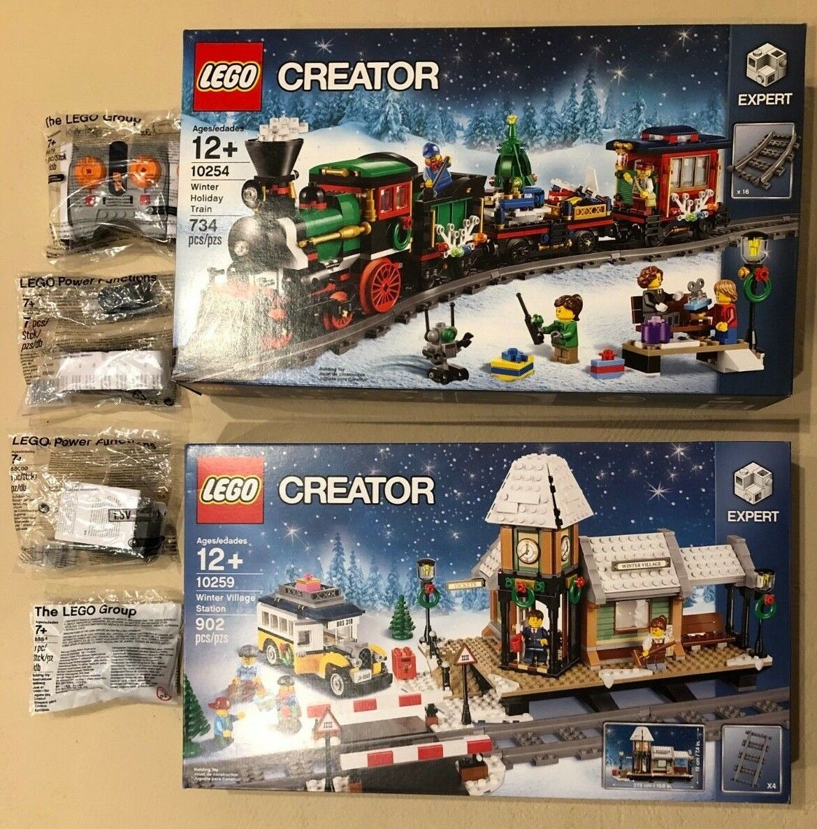 LEGO Christmas 10254 Holiday Train + 10259 Village Station with Power Functions