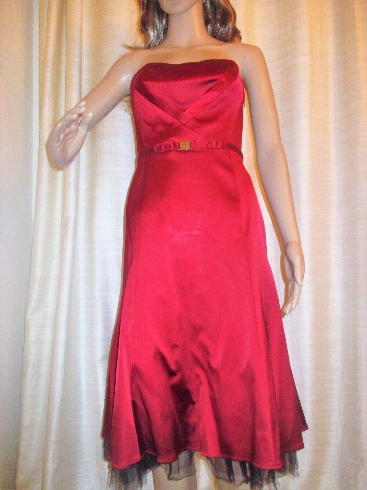 Karen Millen Forrmal Gown Dress Cranberry Deep Red Shiny